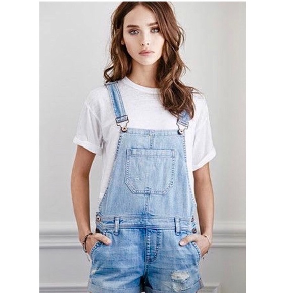 0cb2496be6 Forever 21 Jeans   Distressed Denim Overall Shorts   Poshmark